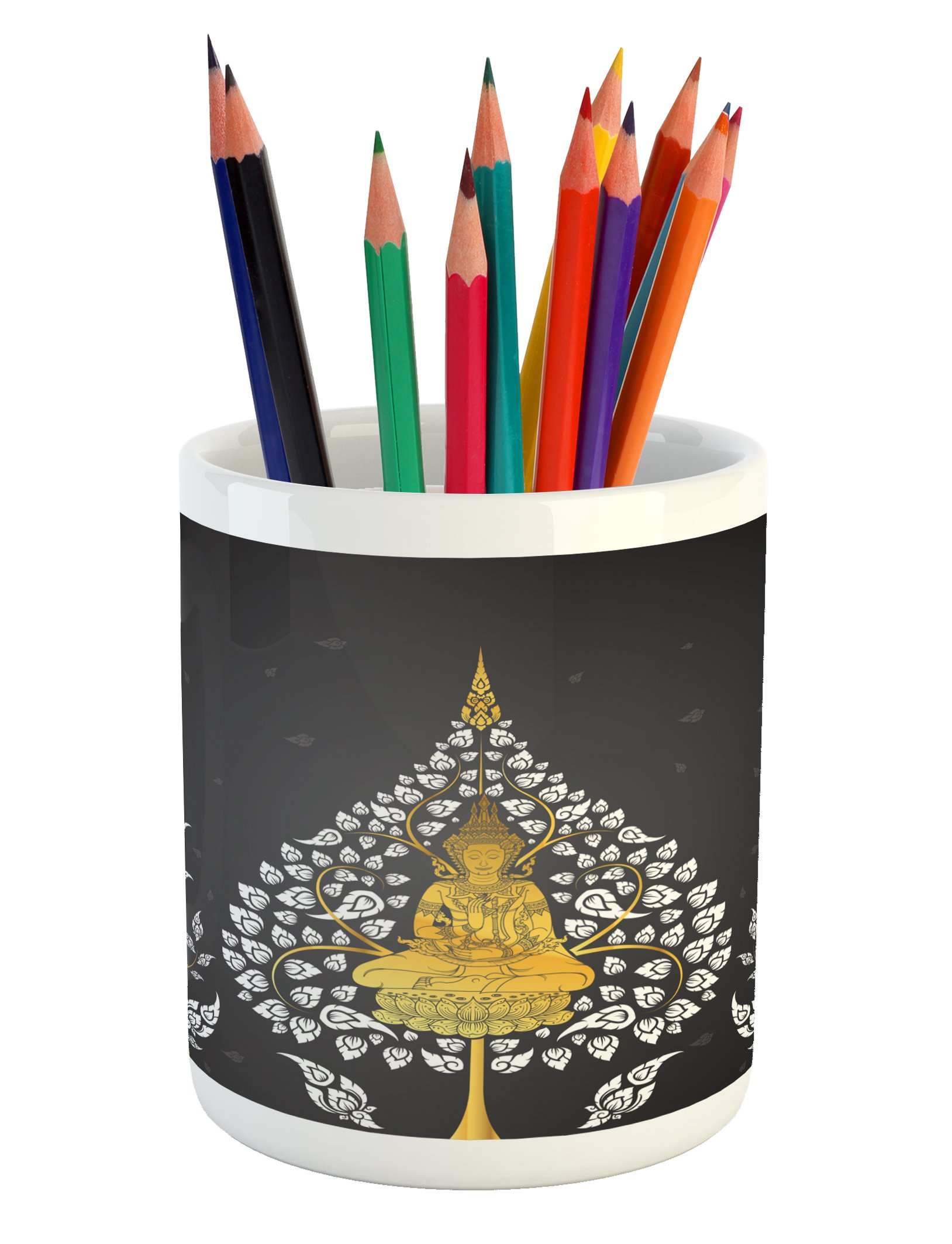 Lunarable Asian Pencil Pen Holder, Ancient Religious Thai Character with Floral Elements Meditation, Printed Ceramic Pencil Pen Holder for Desk Office Accessory, Charcoal Grey White Yellow by Lunarable