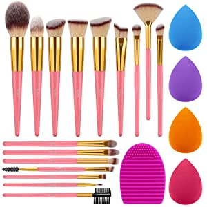 Syntus Makeup Brush Set, 16 Makeup Brushes & 4 Blender Sponges & 1 Brush Cleaner Premium Synthetic Foundation Powder Kabuki Blush Concealer Eye Shadow Pink Golden Makeup Brush Kit