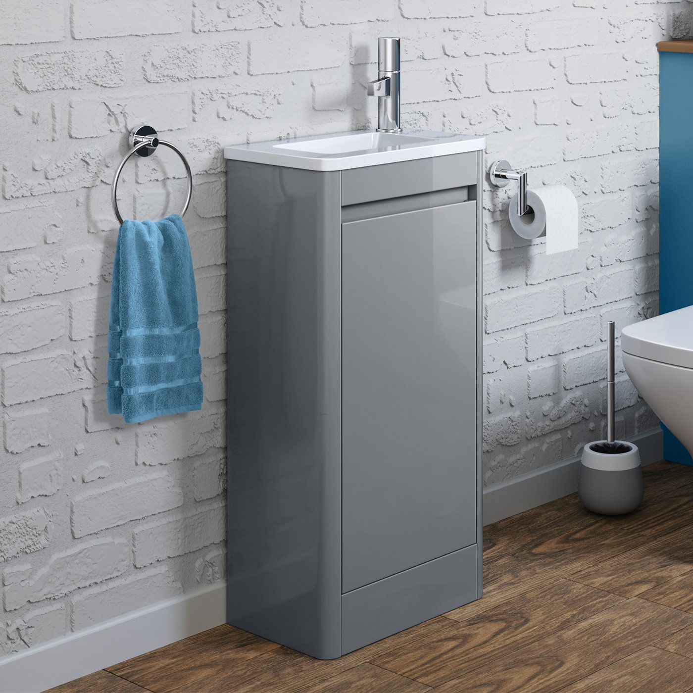 iBathUK Space Saving Gloss Grey Floor Standing Cloakroom Vanity Unit Right Hand Basin Sink Storage