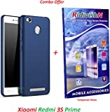"""RidivishN (COMBO OFFER) for Xiaomi Redmi 3S Prime - - - All Sides Protection """"360 Degree"""" Sleek Rubberised Matte Hard Case Back Cover (Blue)+ Premium Tempered Glass Mobile Screen Protector - - - (Transparent)"""