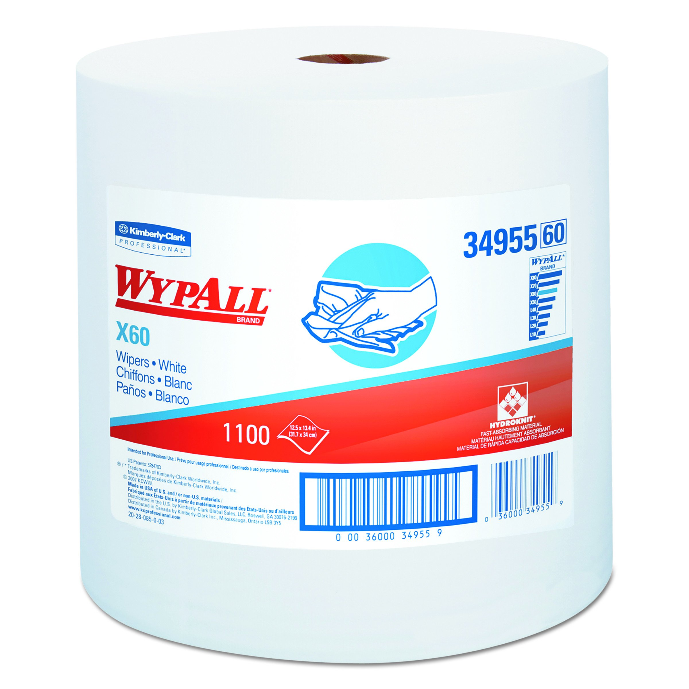 Wypall 34955 X60 Wipers on Jumbo Roll, 12.5'' Length x 13.4'' Width, White (Roll of 1100)