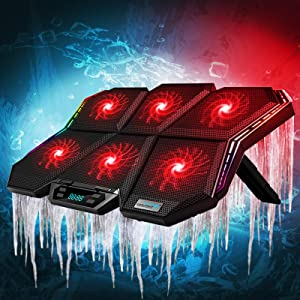 Laptop Cooling Pad,Gaming Laptop Cooling Pad with 7 Angle Adjustable & 6 Quiet Red Led Fans for 12-17 in Laptop Fan Cooling Pad RGB Laptop Cooling Pad & External Fan USB Powered(Cooling Pad+Sticker)