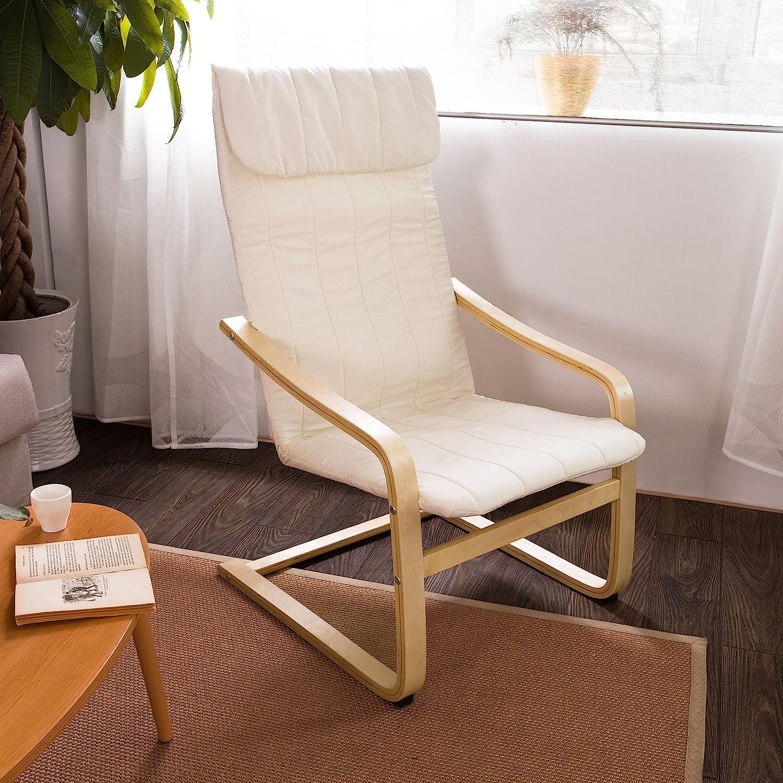 SoBuy sillón de relada, Silla de relada, mecedora , blanco, FST17-W,ES