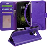 LG G5 Case, Arae [Wrist Strap] Flip Folio [Kickstand Feature] PU leather wallet case with ID&Credit Card Pockets For LG G5 (Purple)