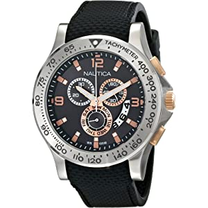 Nautica Mens NAD19504G NST 600 Chrono Analog Display Japanese Quartz Black Watch