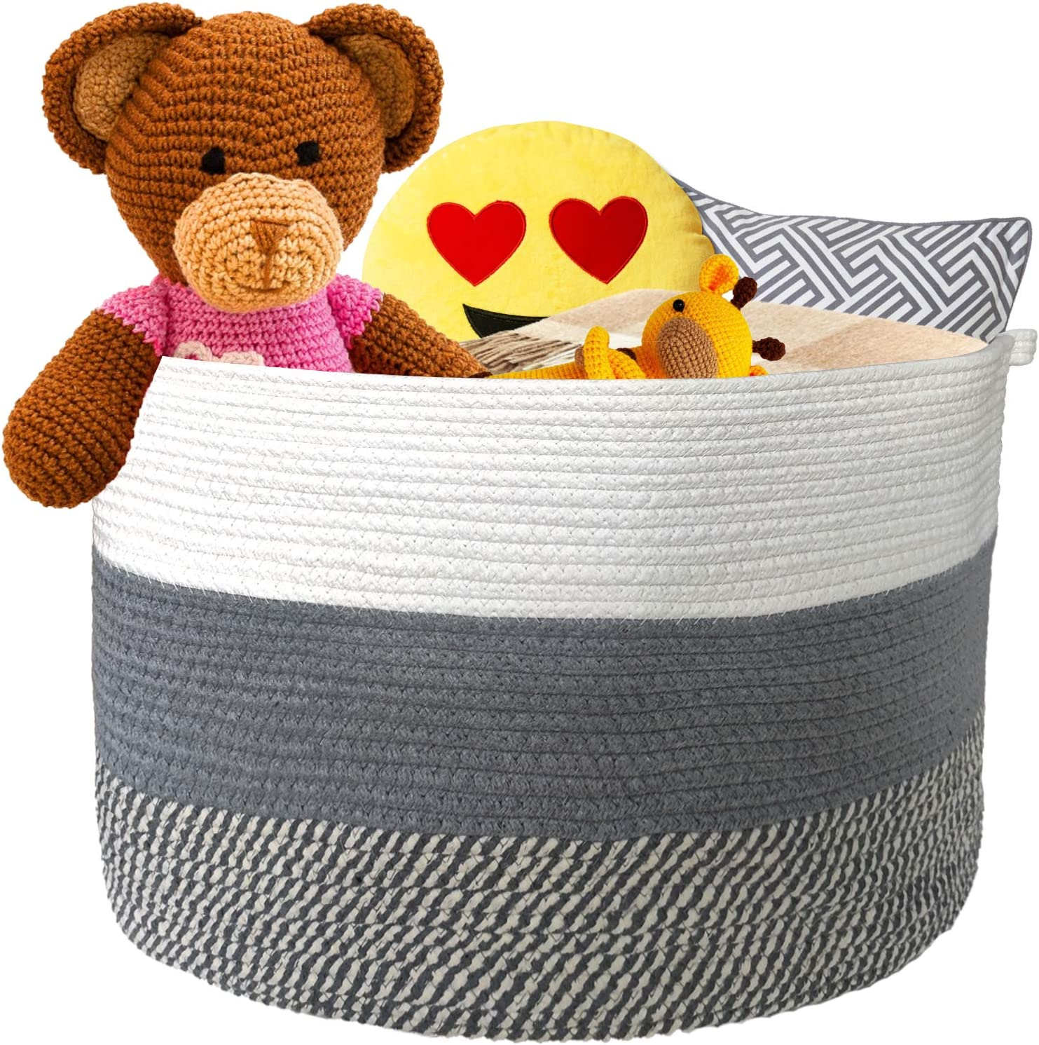 Wintao Cotton Rope Basket Woven Natural Grey and white Bins  Baby bathroom  23