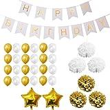 Set Decoraciones Fiesta 33 Piezas Doradas y Blancas por Belle Vous - Pompones, Globos de Látex y de Papel de Aluminio y Pancartas para Celebraciones de Cumpleaños y Fiestas - Kit Lote Decoraciones para Chicas, Chicos y Adultos