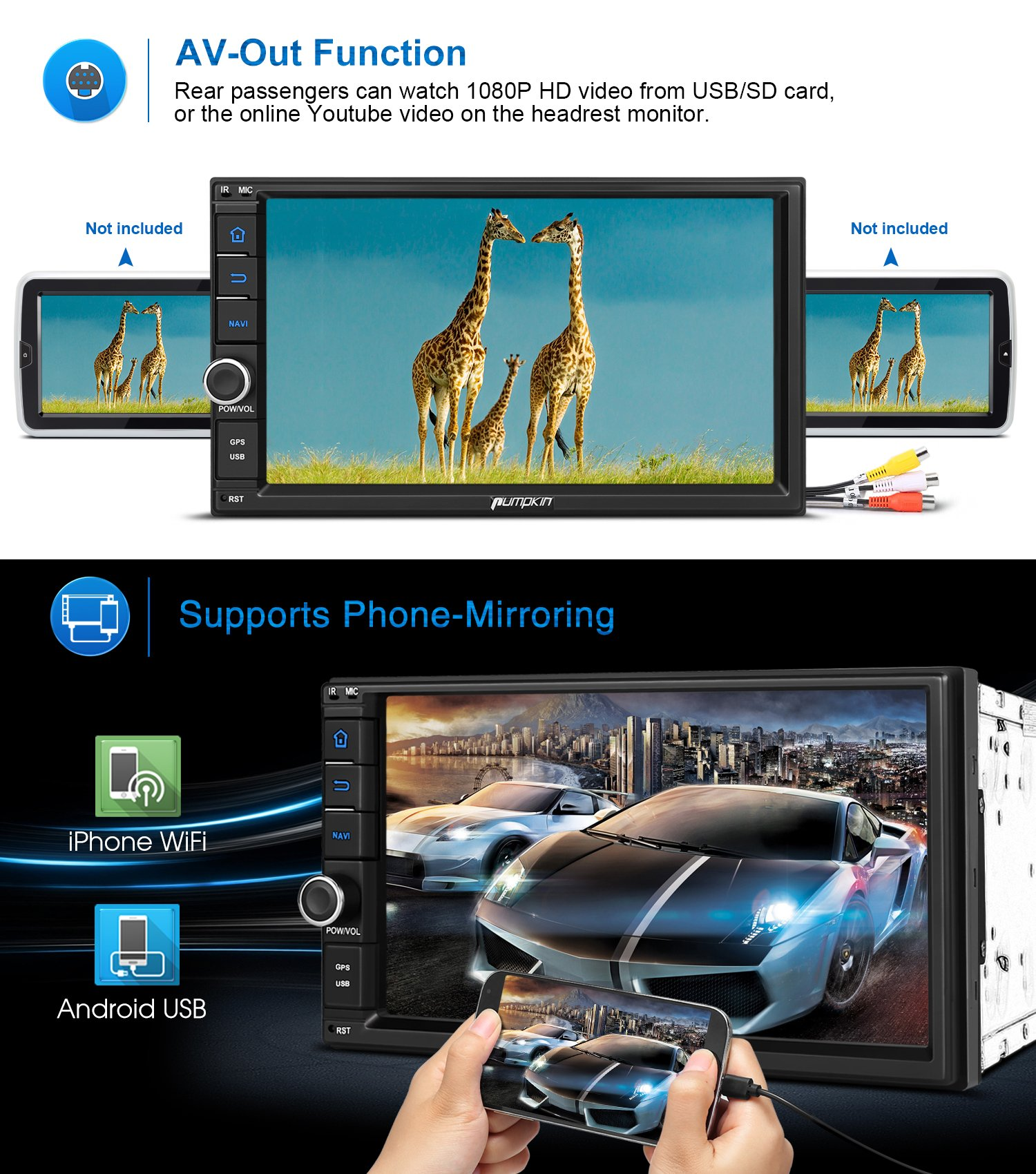 2GB 32GB Android 7.1 Car Stereo - Double Din Bluetooth 4.0 Radio - Support Fast Boot, GPS Navigation, USB/SD, 3G WIFI, Mirror Link, Backup Camera, AV-Out, OBD2, DVR, Subwoofer by PUMPKIN (Image #4)