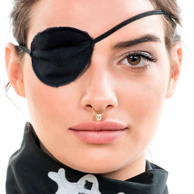 Gold Septum Ring, Septum Piercing, Skull Piercing, 14K Solid Gold Septum, Nose Piercing, 16-20 Gauge, Handmade Designer Piercing Jewelry
