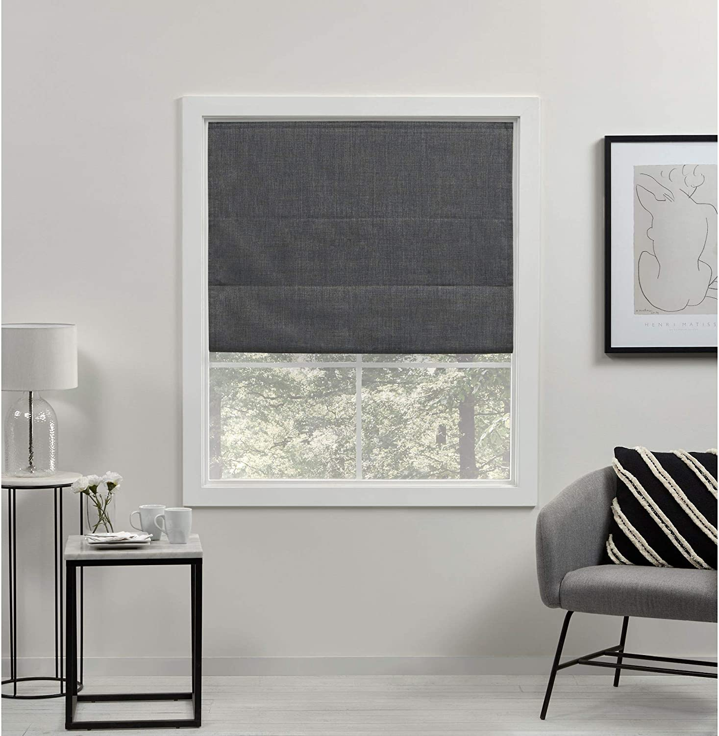 Exclusive Home Curtains Acadia Total Blackout Roman Shade, 31x64, Grey