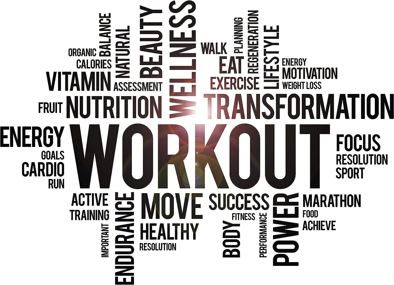 DesignToRefine Vinyl Wall Decal Workout Wellness Health Gym Fitness Center Sport Motivational Words Stickers Mural Large Decor (ig6249) Black