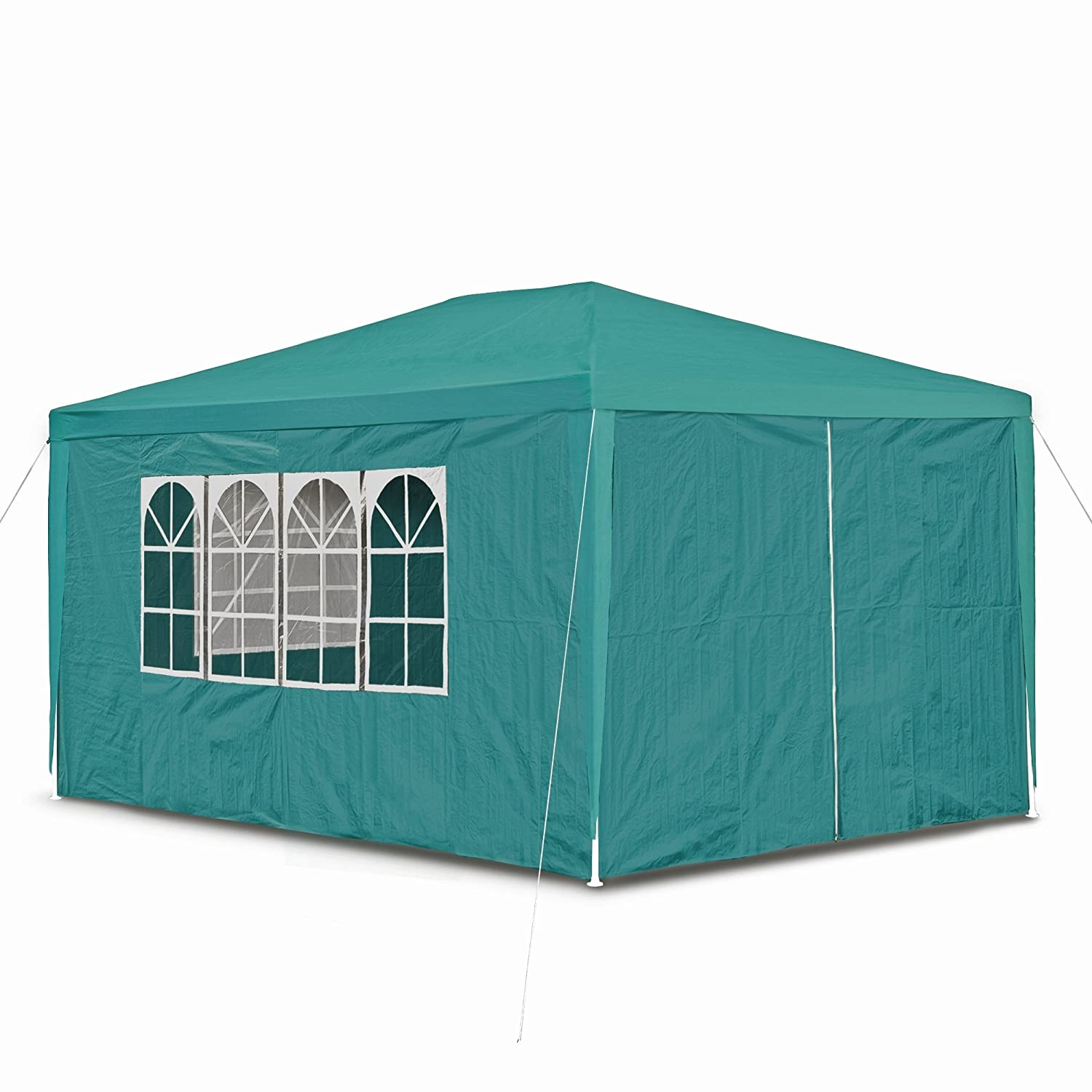 JOM 127294 Gazebo, 3 x 4 m, with 4 sidewalls, 3 windows and 1 door with zipper, PE 100G, green