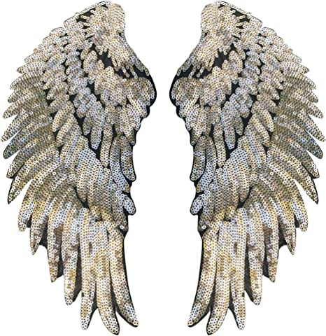 Parche con forma de alas bordado con lentejuelas para planchar a ...
