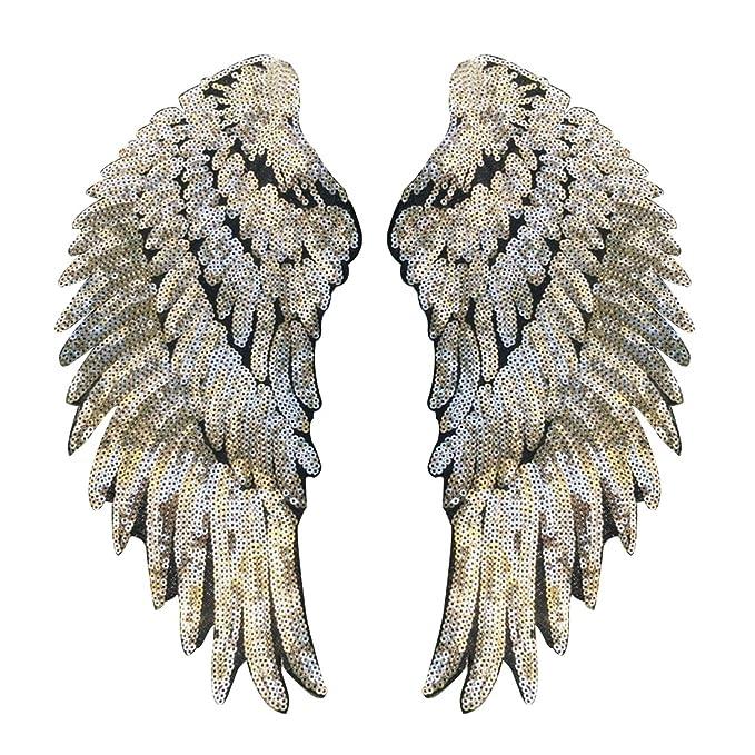 Parche con forma de alas bordado con lentejuelas para planchar a la ropa, 1 par: Amazon.es: Hogar
