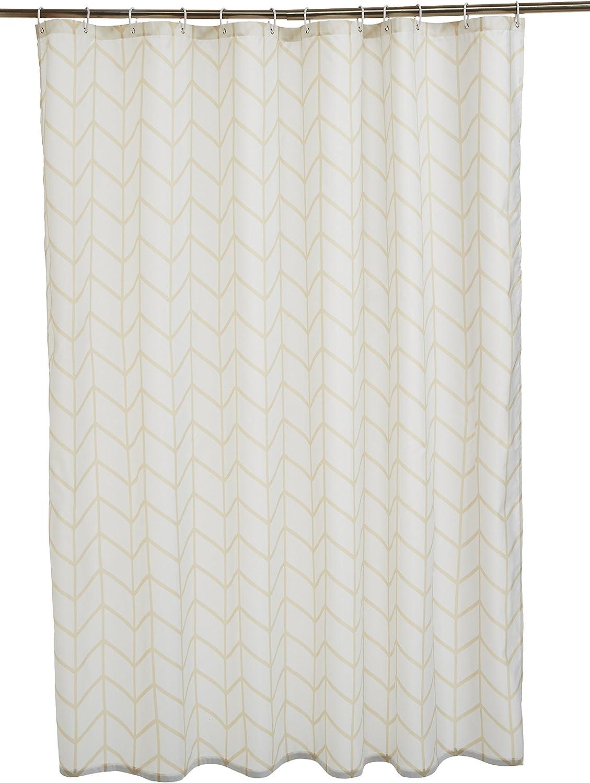 AmazonBasics - Cortina de ducha de tejido estampado (180 x 180 cm), diseño de espiga beige