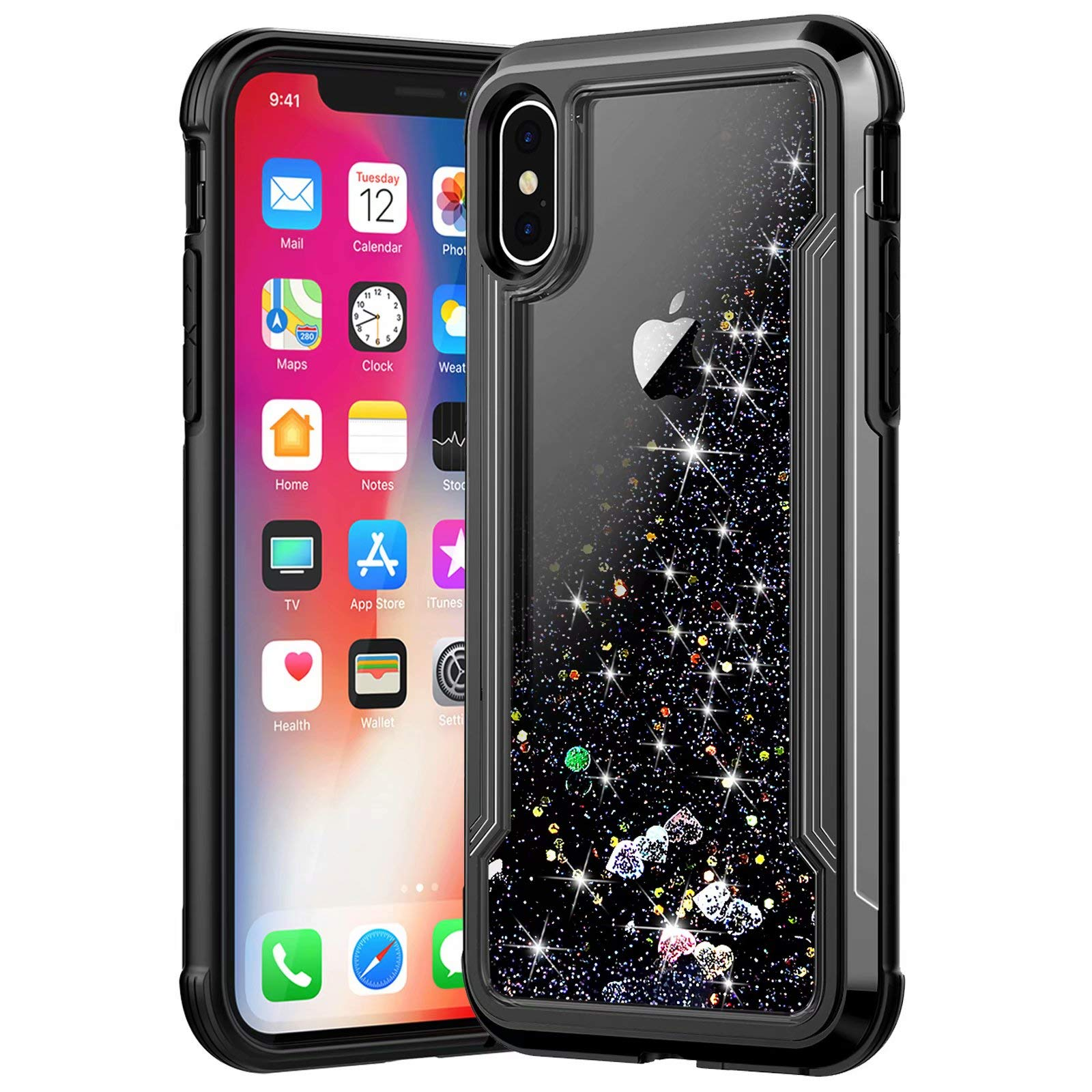 iPhone Xs Case, iPhone X Case, Ranyi Protective Liquid Glitter Case Flowing Liquid Floating Glitter Sparkle Quicksand Resilient Rubber Electroplated Bumper Case for 5.8 Inch iPhone Xs/X (Black) by Ranyi