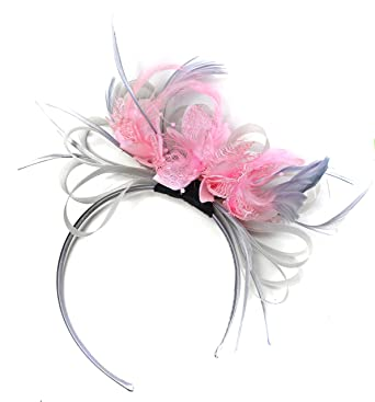 Silver Grey and Pink Net Hoop Feather Hair Fascinator Headband Wedding  Royal Ascot Races  Amazon.co.uk  Clothing 3b5dc42fb83