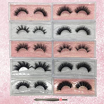 c8ce5ed47be Amazon.com : Googoo 3D Mink Eyelashes 100% Real Siberian Natural False Eyelashes  Luxury Reusable Handmade Mink Fur Eyelashes 10 Pairs Multipack : Beauty