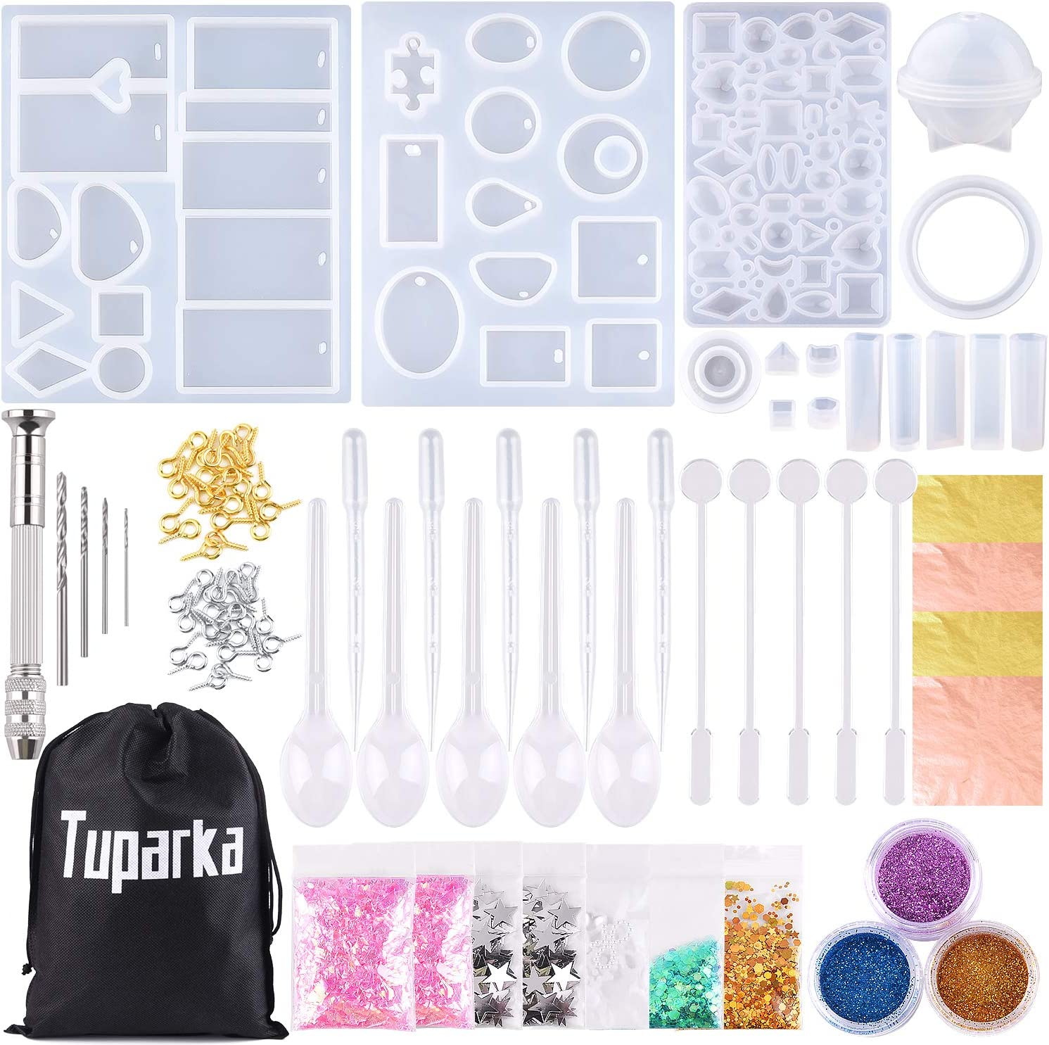 TUPARKA 165 PCSmolde silicona joyeria epoxi,Resina Moldes para hacer artesanías de joyería DIY,Collar Pendiente Fabricación