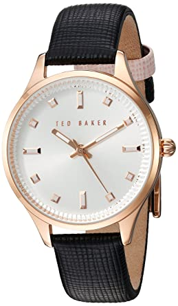 8c81d8aea9184c Amazon.com  Ted Baker Women s Dress Sport Stainless Steel Japanese-Quartz  Watch with Leather Strap