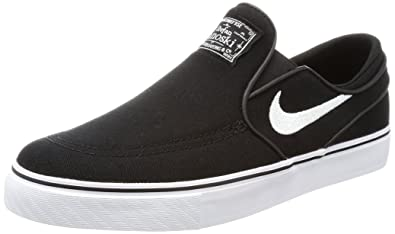 NIKE Kids Stefan Janoski CNVS Slip (GS) Black/White Skate Shoe 4 Kids