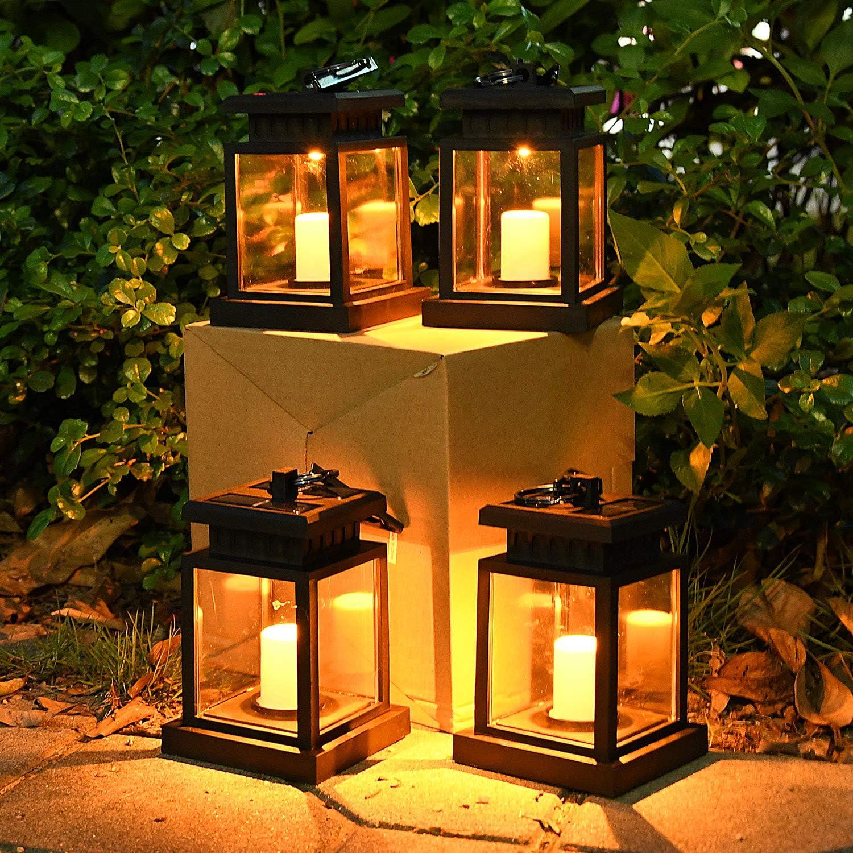 solar lanterns outdoor hanging waterproof solar powered patio yard backyard christmas decorative candle lanterns umbrella lights post deck tree floor