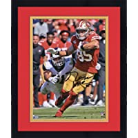 "$127 » Framed George Kittle San Francisco 49ers Autographed 8"" x 10"" Scarlet Jersey Running Photograph - Fanatics Authentic Certified"