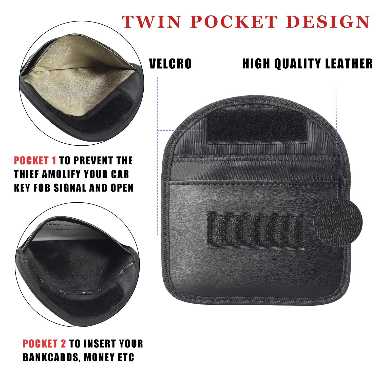 Newseego 2 x Mini Car Key Signal Blocker Case RFID Faraday Bag Black Signal Blocking Pouch for Key Fob Premium Faraday Keyless Entry Car Key Security Accessories