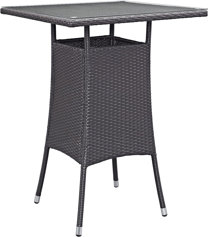 Modway Convene Wicker Rattan Outdoor Patio Small Square Bar Table in Espresso