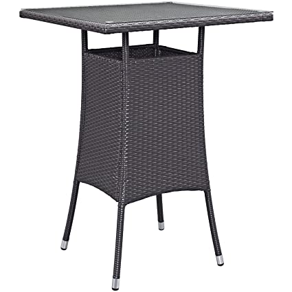 High Quality Modway Convene Wicker Rattan Outdoor Patio Small Square Bar Table In  Espresso