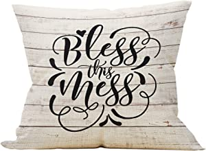 Mancheng-zi Bless This Mess Throw Pillow Case, Housewarming Gifts Family Room Decor, Outdoor Porch Decor, 18 x 18 Inch Farmhouse Decorative Linen Cushion Cover for Sofa Couch Bed