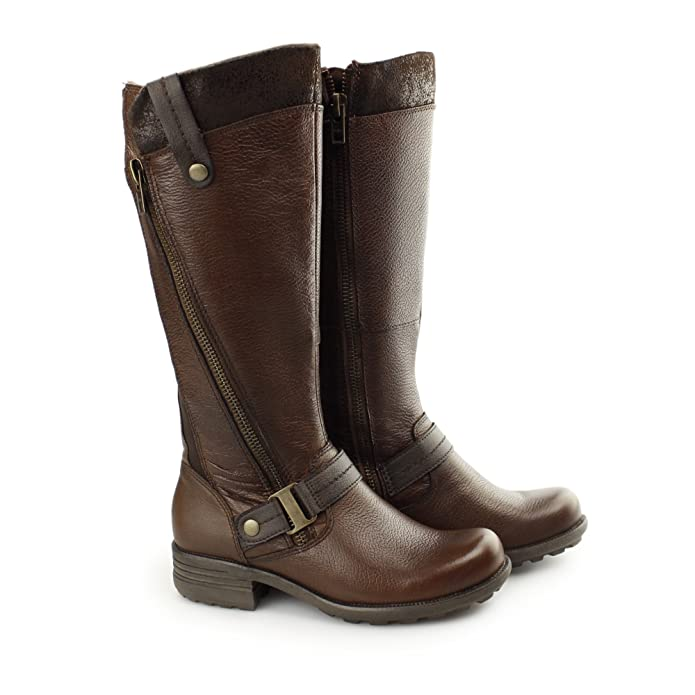 6a7afbb5b52 Earth Spirit Suffolk Ladies Leather Textile Zip Tall Boots Almond UK 7   Amazon.co.uk  Shoes   Bags