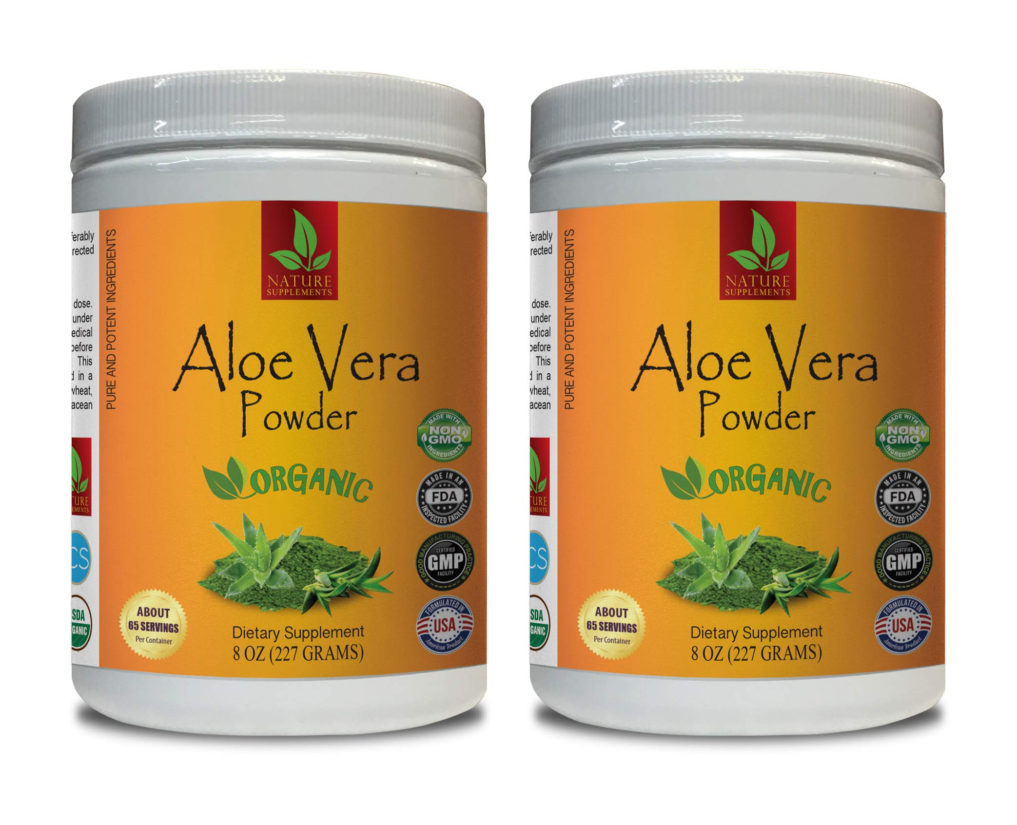 antioxidant Vitamins for Women - Aloe Vera Organic Powder - Pure and Potent Ingredients - Aloe Vera Powder for Hair - 2 Cans 16 OZ (130 Servings)