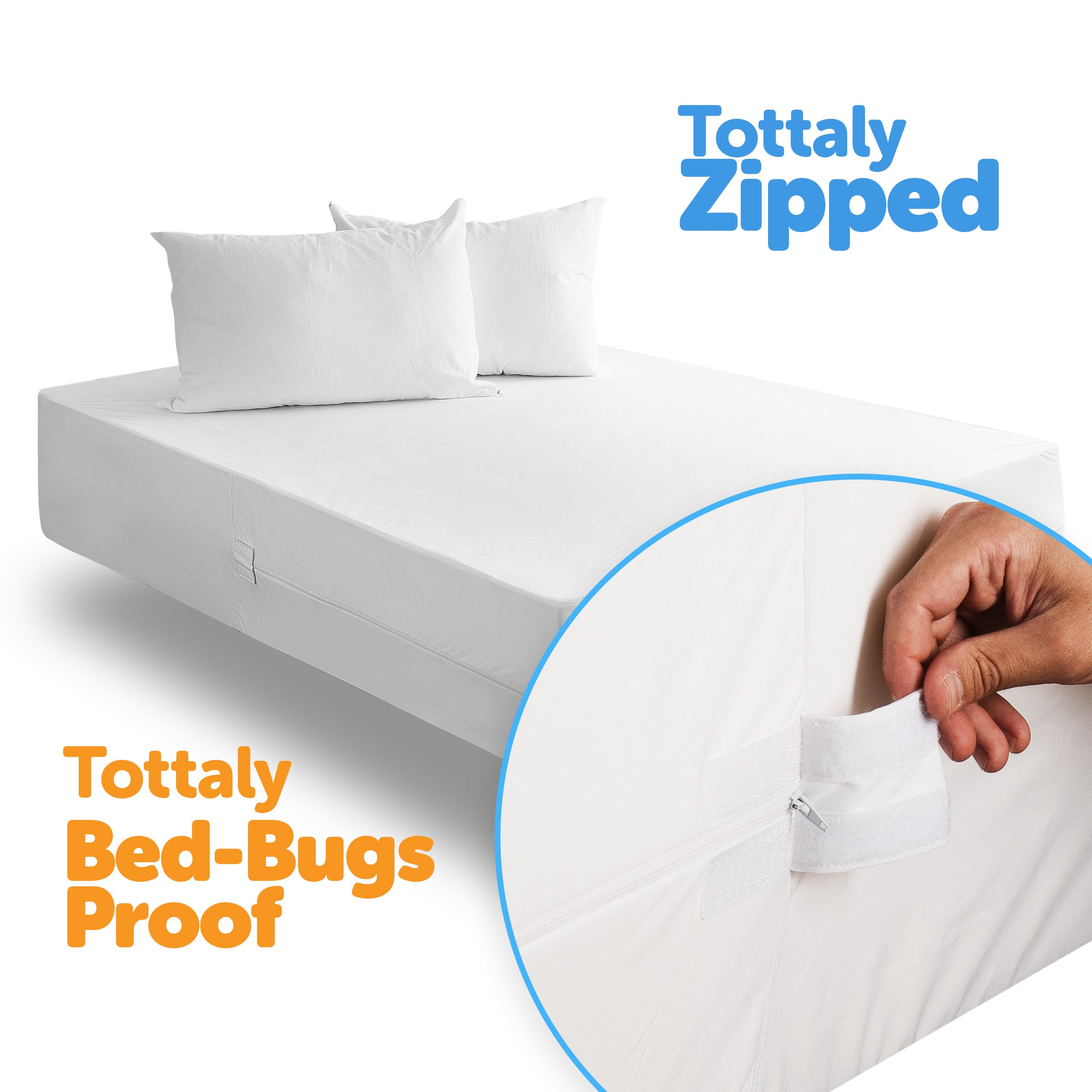 joluzzy Zippered Mattress Protector - 100% Bed Bug Proof/Waterproof Six-Sided Mattress Encasement - Cotton Terry, Breathable, Noiseless, Hypoallergenic, Vinyl-Free, Twin-XL Size by joluzzy (Image #3)