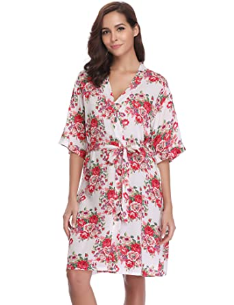 279703cce6cec hawiton Ladies Kimono Robes Pattern Bride/Bridesmaids Dressing Gowns  Nightdress Short Style with Oblique V-Neck
