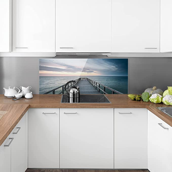 Footbridge Promenade Dimension: 40cm x 80cm Paysage 1:2 Peinture Murale revetement Mural Cuisine dosseret de Cuisine Impression sur Verre Fond de Cuisine Bilderwelten Cr/édence en Verre