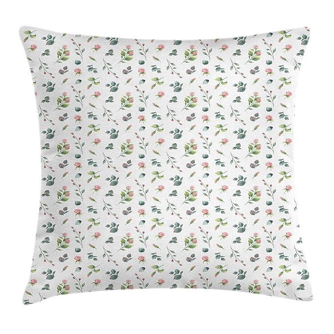 Floral Throw Pillow Cushion Cover, Feminine Romantic Look ...