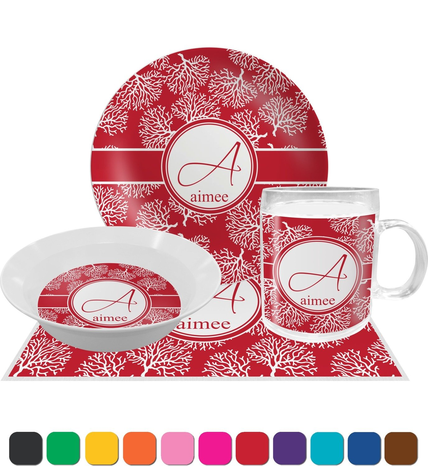Coral Dinner Set - 4 Pc (Personalized) by RNK Shops