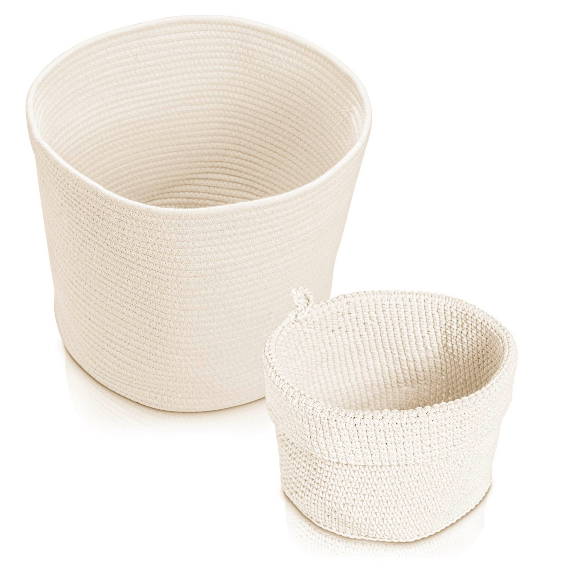Rope Basket Organizer Combo Set - Eco-Friendly, Natural Color and Tightly Woven - Medium Size 15 x 13 inch Cotton Rope Basket, with Bonus 8 x 6 inch Nylon Rope Basket - Mold Resistant and Decorative