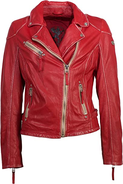 Gipsy Modische Damen Lederjacke in rot, eine tolle Bikerjacke aus echtem Leder