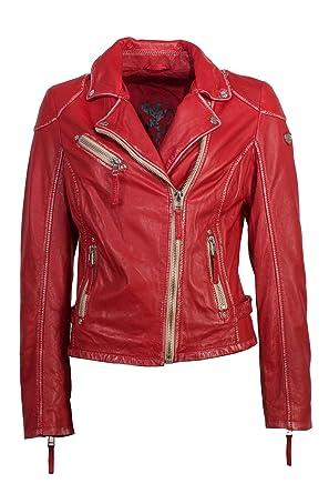 Gipsy Modische Damen Lederjacke Echtleder Cayenne rot