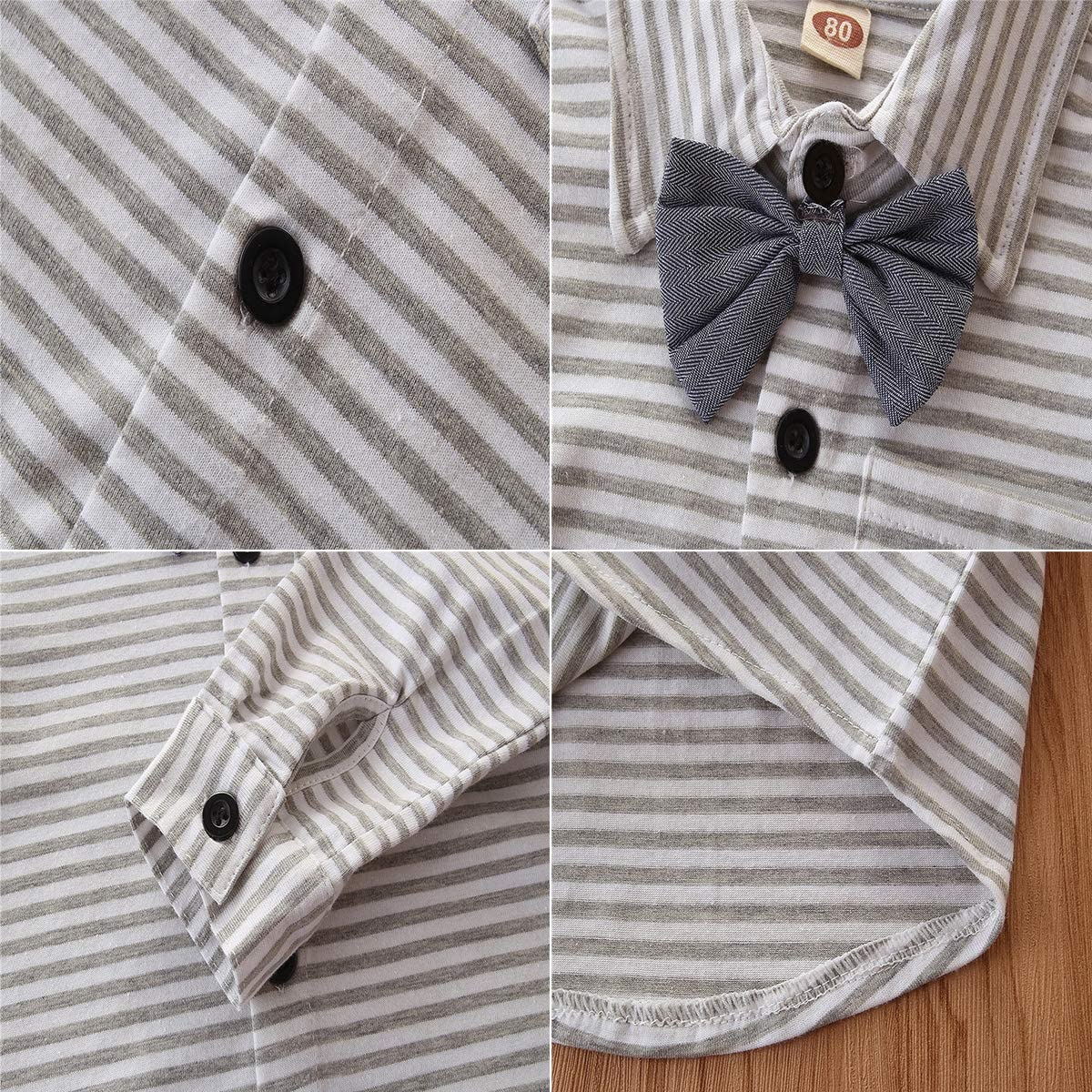 mtxtechnology Toddler Baby Boy Gentleman Outfit Bow Tie Striped Shirt Suspenders Long Pants Suit