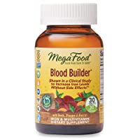 MegaFood, Blood Builder, Iron Supplement, Support Energy and Combat Fatigue without Nausea or Constipation, Non-GMO, Vegan, 30 Tablets/Take 1 Daily