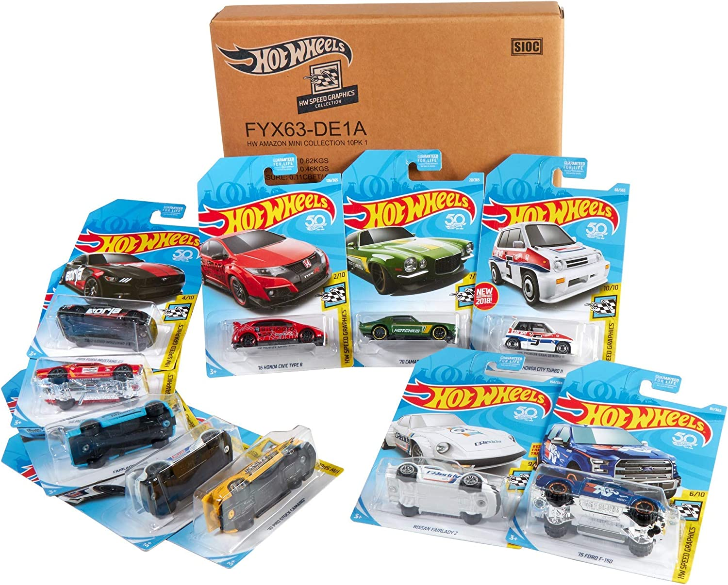Hot Wheels - Coches, Surtido de 10 Vehículos de Hot Wheels, 1 Unidad (Exclusivo De Amazon) (Mattel FYX63): Amazon.es: Juguetes y juegos