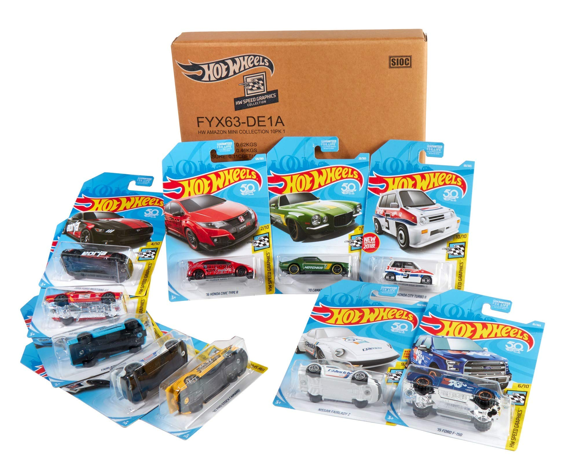 Hot Wheels FYX63 Amazon Exclusive 10 Vehicle Pack Mini Collection, Multicoloured