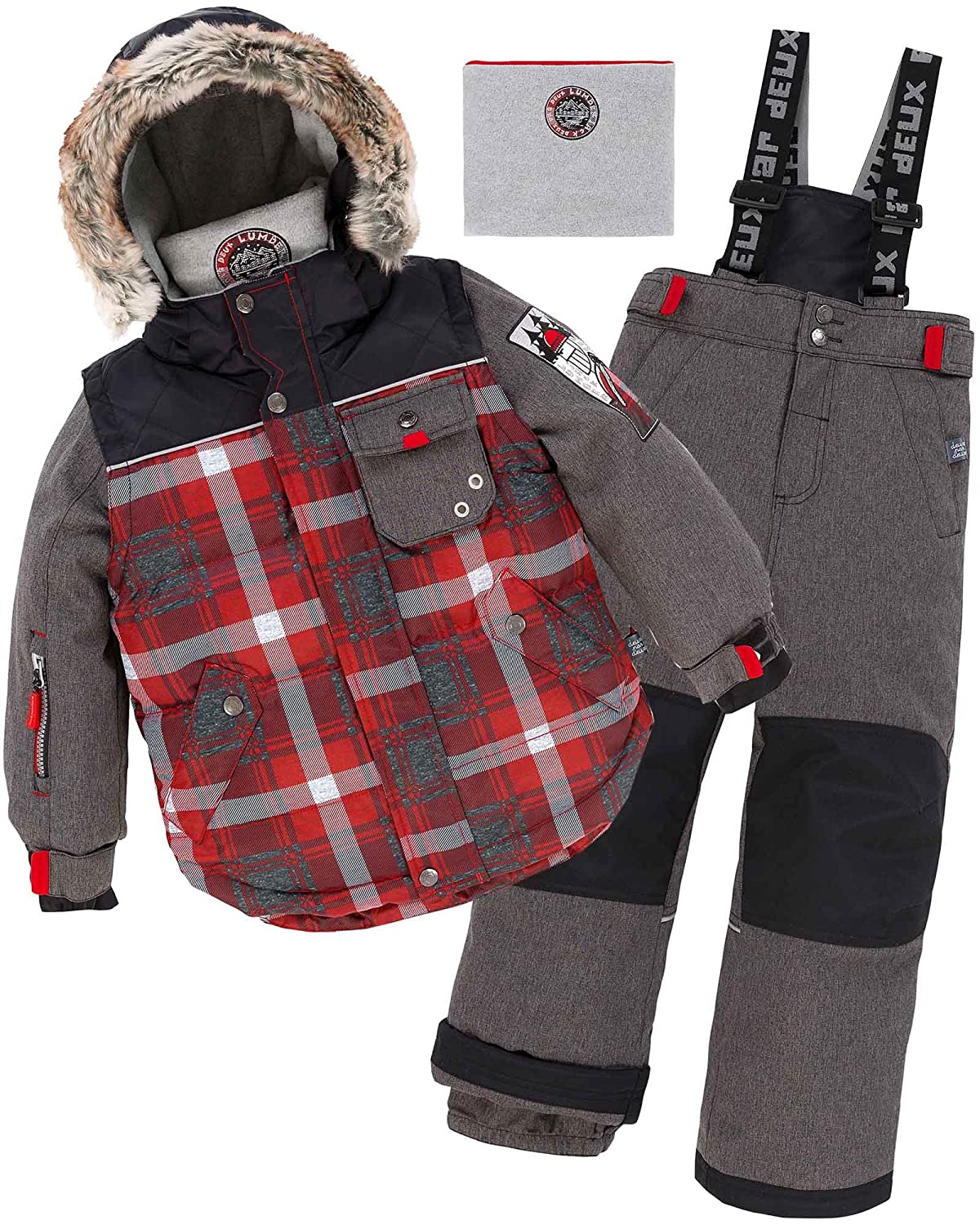 Deux par Deux Boys' 2-Piece Snowsuit Lumberjack Charcoal, Sizes 5-14