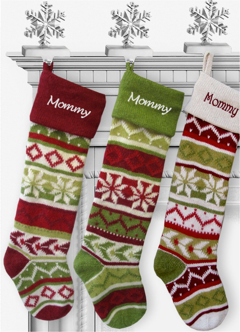 SET OF 5 Oversized 28'' Knitted Christmas Stockings FairIsle Knit + Monogram - CHOOSE YOUR DESIGNS - Embroidered with Choice of YOUR Names by CHRISTMAS-STOCKINGS-by-STOCKINGFACTORY (Image #7)