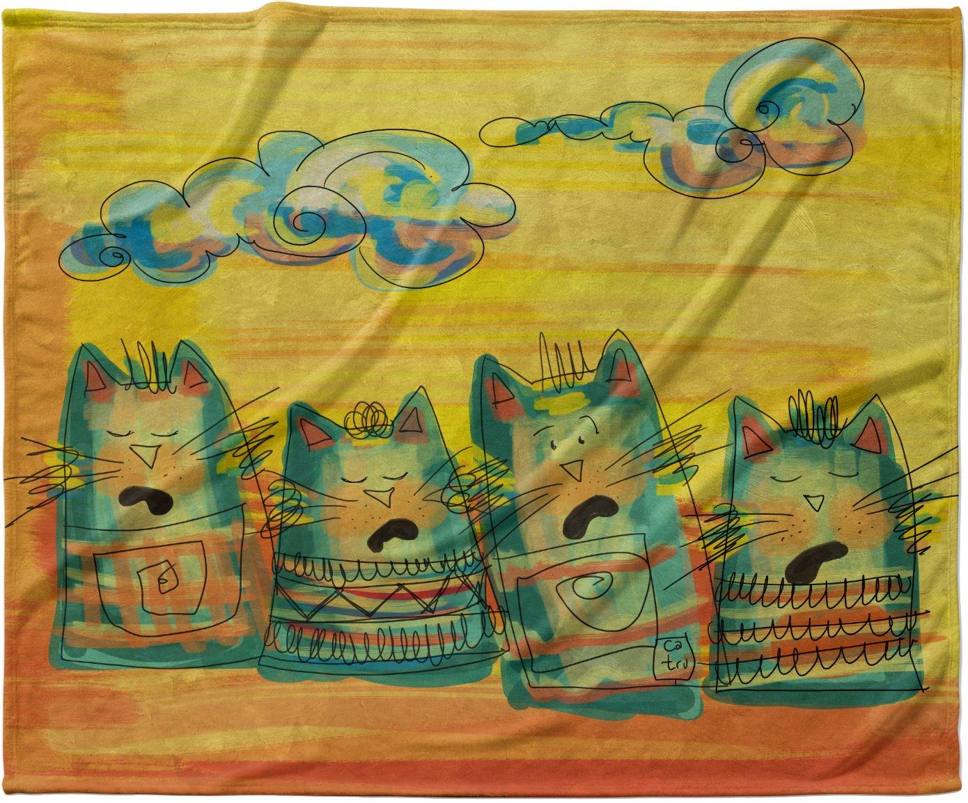 KESS InHouse Carina Povarchik 'Singing Cats' Yellow Orange Fleece Baby Blanket, 40' x 30'