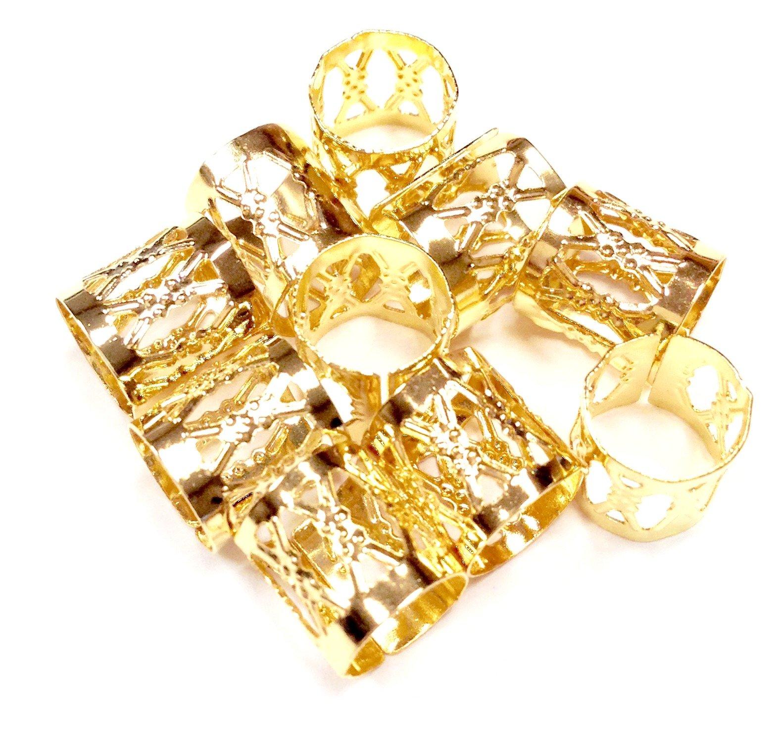 Dread Lock Dreadlocks Braiding Beads Gold Silver Metal Accesories Cuffs Hair Decoration Filigree Tube Rasta 10mm