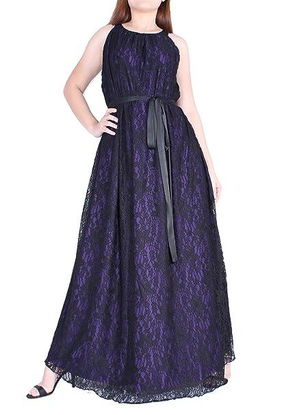 Amazon.com: Maxi vestido de talla grande negro encaje fiesta ...